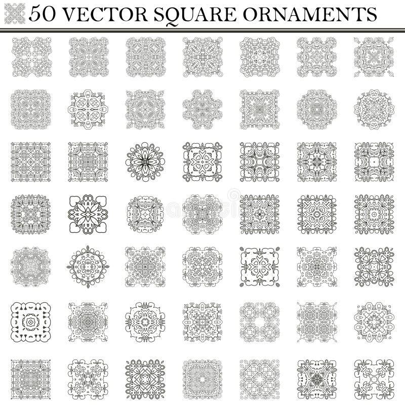 Vector set of symbols. Abstract square ornament. Decorative retro element stock illustration