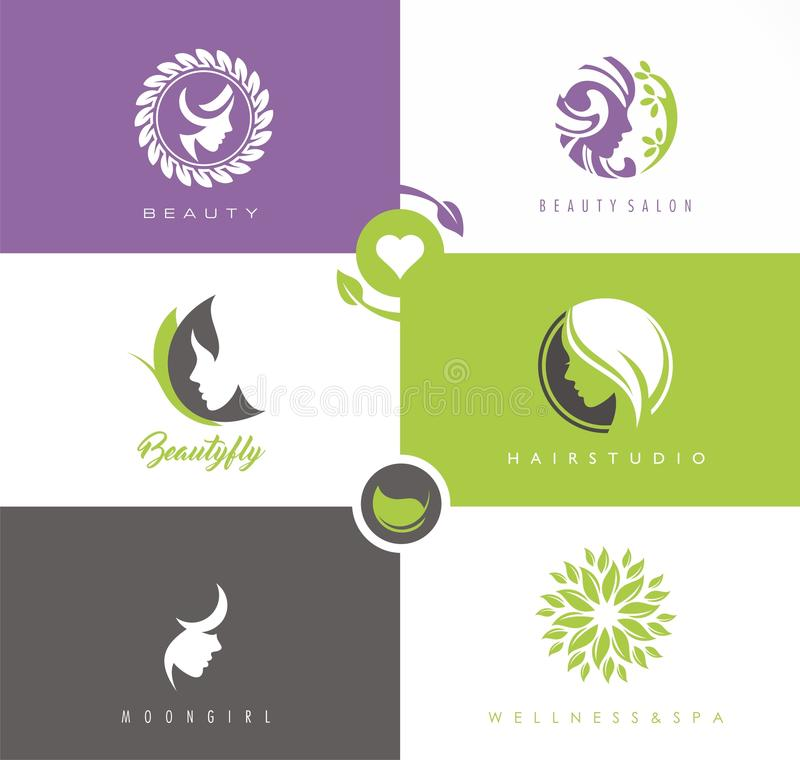 Vector set of symbols and logo designs ideas with women portrait silhouettes. royalty free illustration
