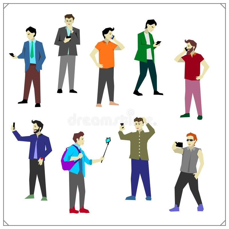 Vector set of taking selfie, holding smartphones and talking, texting and listening. People with mobile phones and smartphone. Flat vector set of taking selfie stock illustration