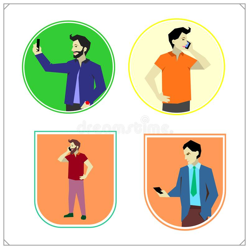 Vector set of taking selfie, holding smartphones and talking, texting and listening. People with mobile phones and smartphone. Flat vector set of taking selfie royalty free illustration