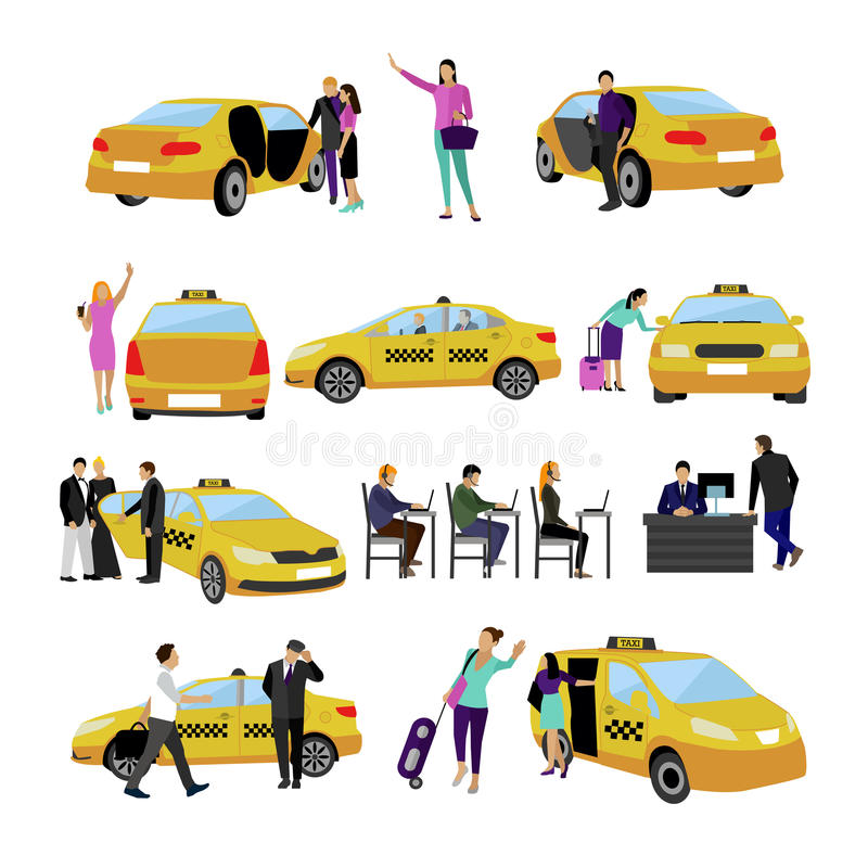 Vector set of Taxi service icons isolated on white background. People using yellow cab. Vector set of Taxi service icons isolated on white background. People royalty free illustration