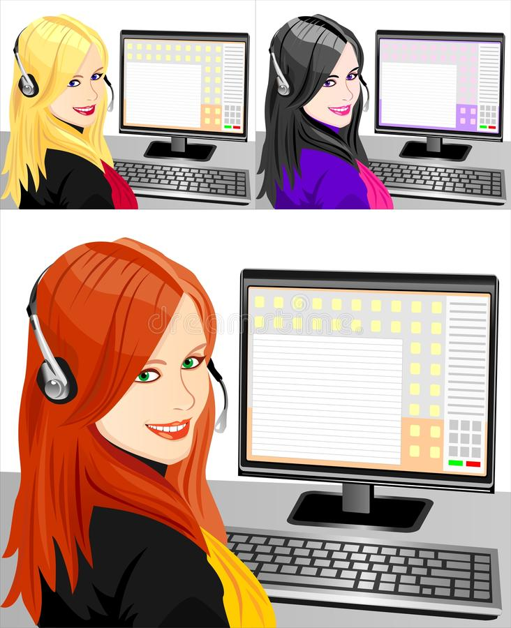 Download Vector Set Of Telephone Operator Three Color Stock Vector - Image: 18089324