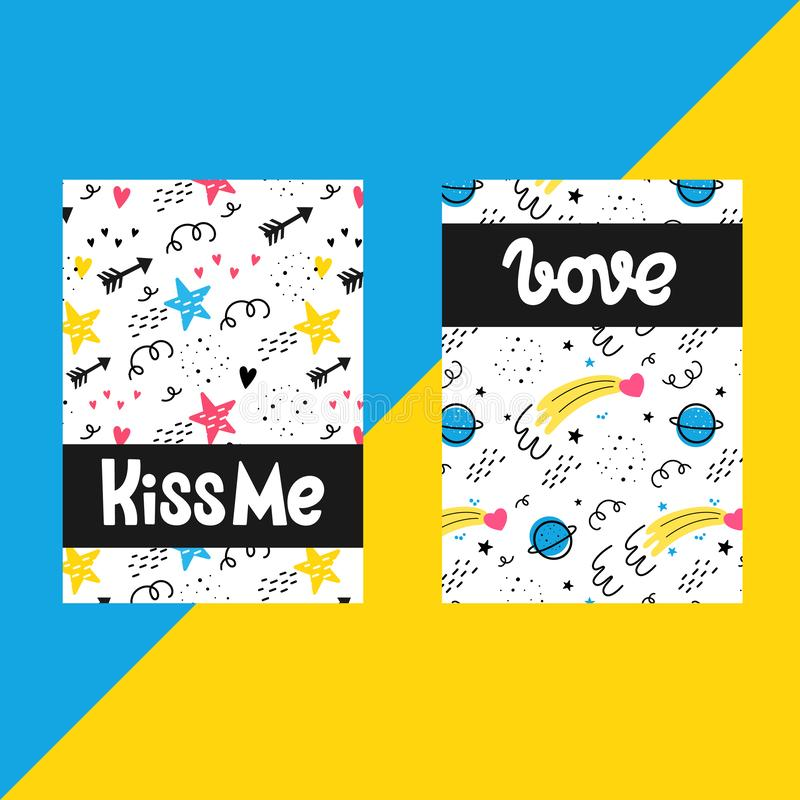 Vector set of templates for postcards. Valentine`s day. Doodle style. Space, stars, hearts, comet stock illustration