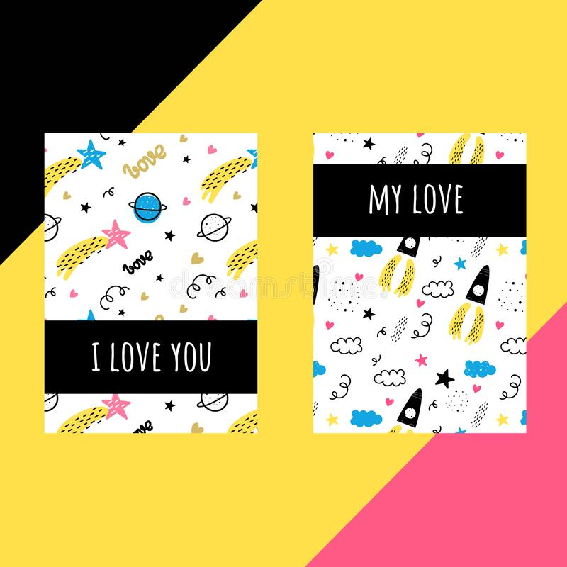 Vector set of templates for postcards. Valentine`s day. Doodle style. Space, stars, hearts, rocket, comet. Vector set of templates for postcards. Valentine`s day royalty free illustration