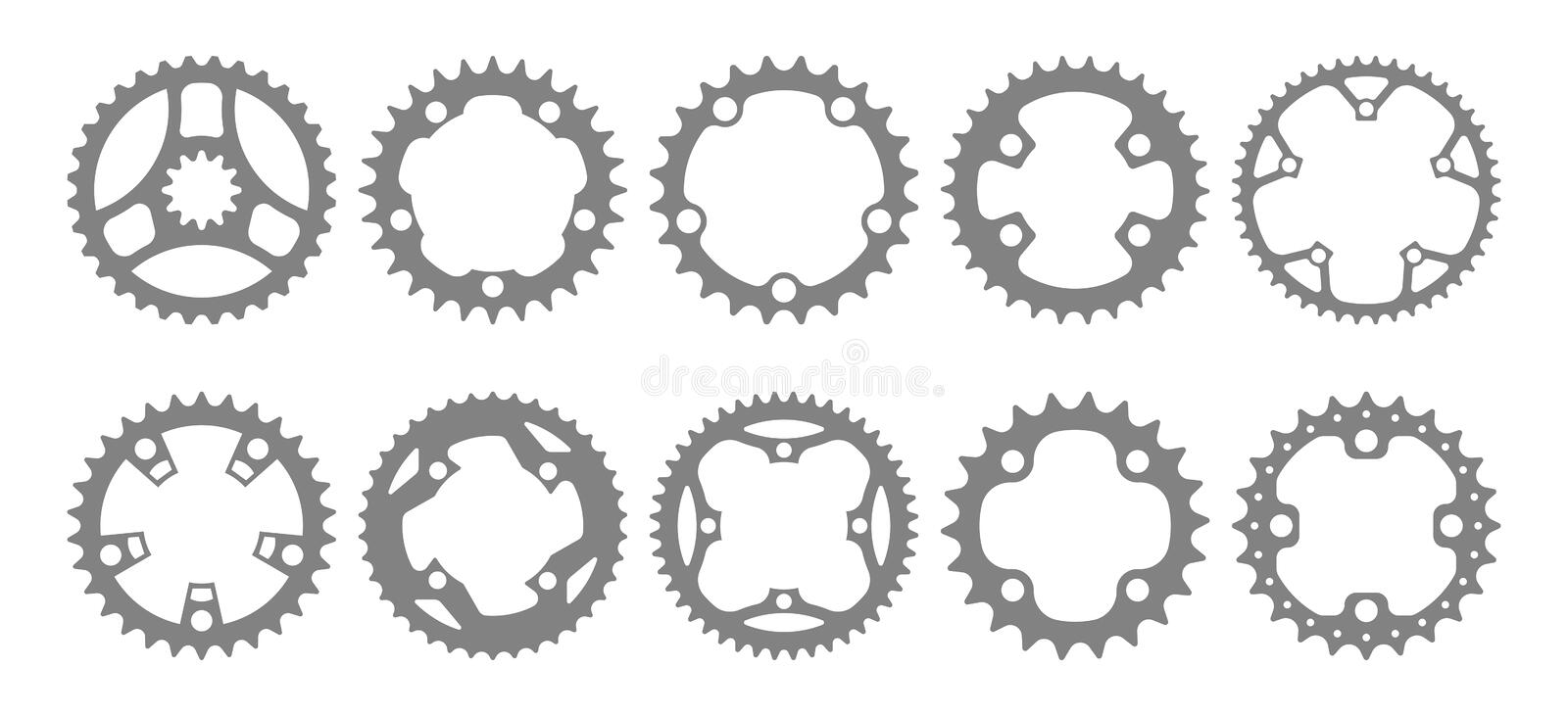 Vector set of ten bike chainring silhouettes. stock illustration