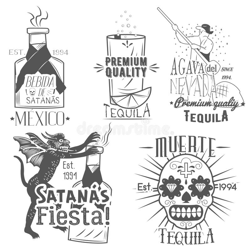 Vector set of tequila labels in vintage style. Mexican alcohol drink, berida. Hand drawn menu design elements, icons stock illustration