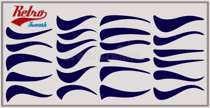 Vector set of texting tails. Sport logo typography vector elements. Swirl swash stroke design, curl typographic illustration.  vector illustration