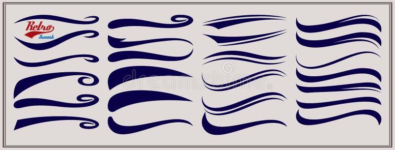 Vector set of texting tails. Sport logo typography vector elements. Swirl swash stroke design, curl typographic illustration.  stock illustration