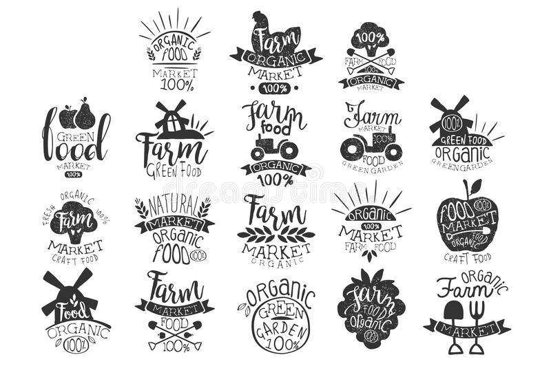 Vector set of textured monochrome labels for farm market. Green garden. Emblem for organic food store. Natural products royalty free illustration