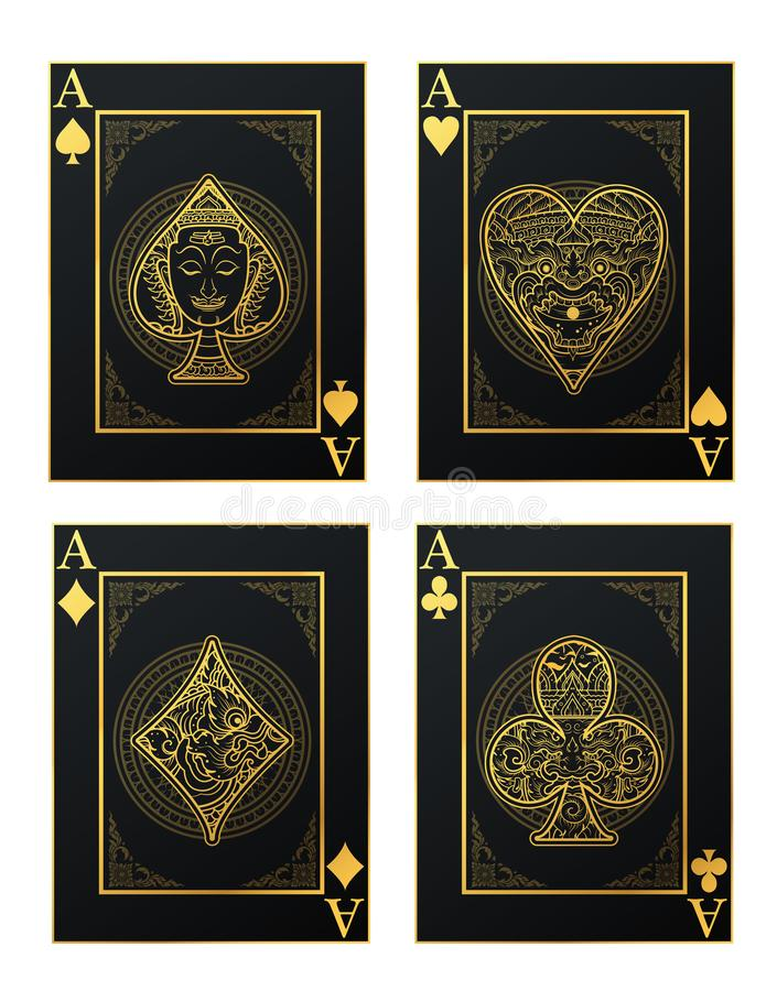Vector set of thai tradition playing card and icon. With decorative ornament stock illustration