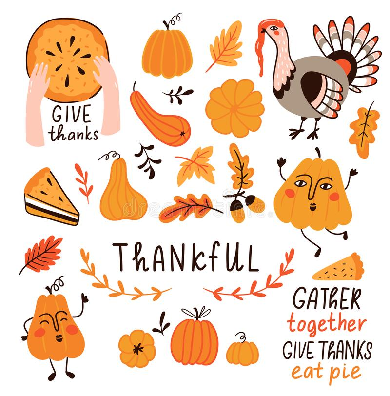 Vector set for Thanksgiving day. Cute hand drawn illustration with decor elements for thankful day. royalty free illustration