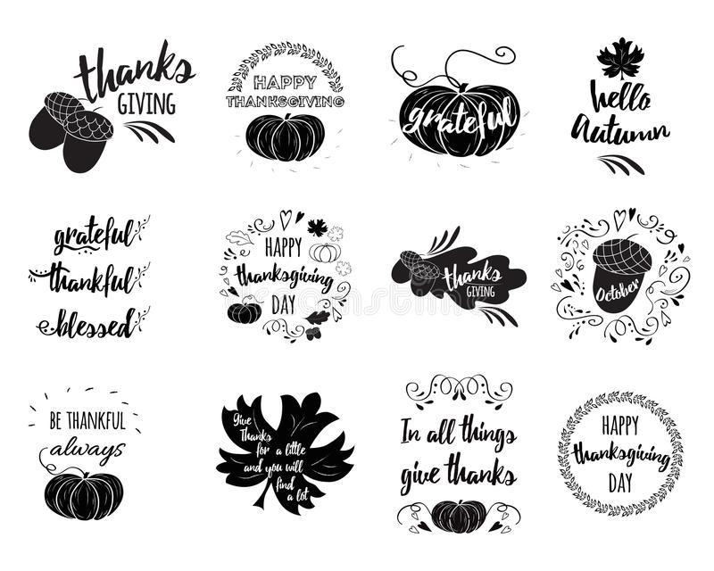 Vector set of Thanksgiving wishes overlays, lettering labels stock illustration