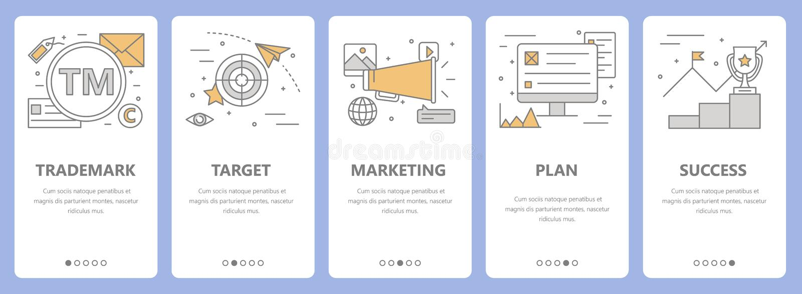 Vector set of thin line flat design advertising concept banners royalty free illustration