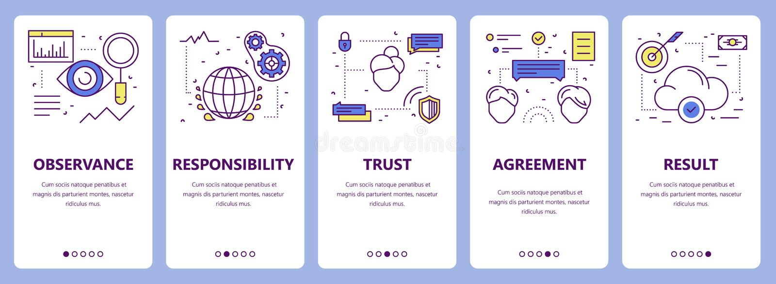 Vector set of thin line flat design commitment concept banners royalty free illustration