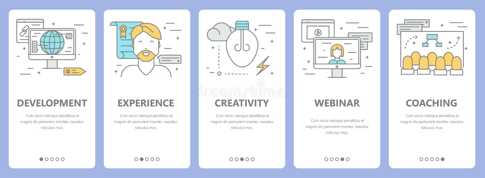 Vector set of thin line flat design e-learning concept banners vector illustration