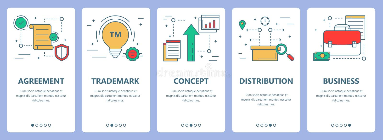 Vector set of thin line flat design franchise concept banners royalty free illustration