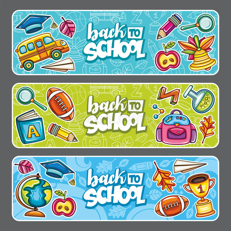 Vector set of three children horizontal banners. vector illustration