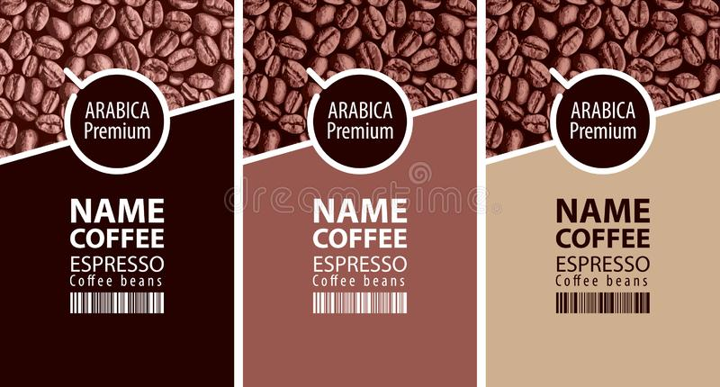 Labels for coffee beans with cup and barcode stock illustration