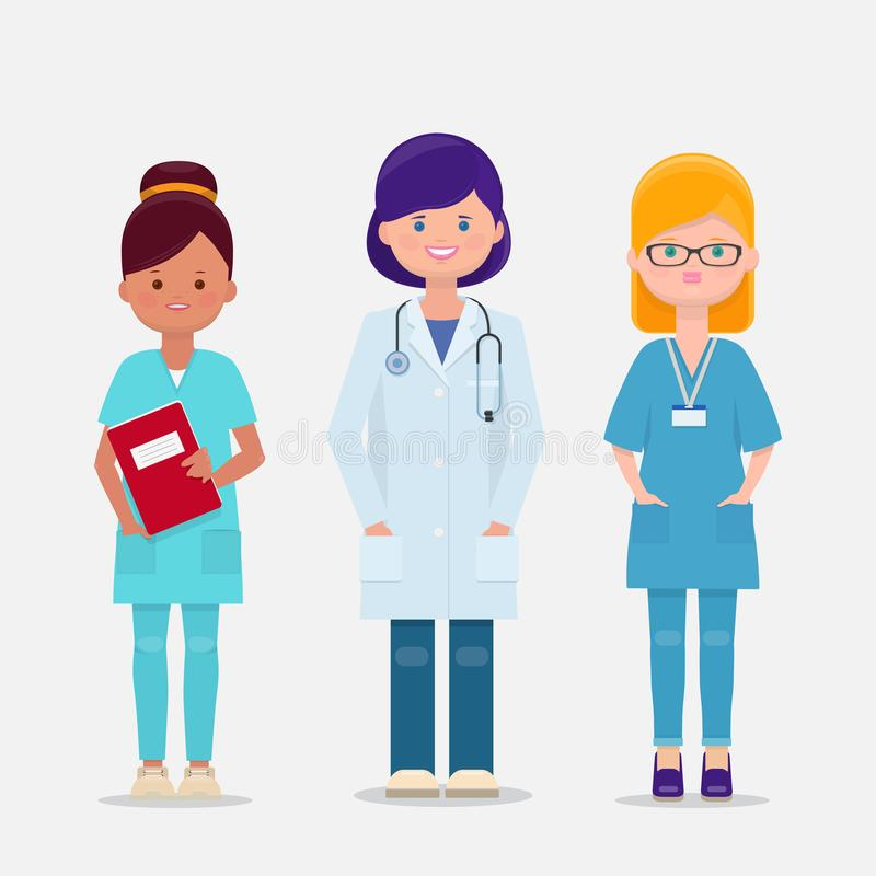 Vector set of three female doctor and nurses. Set of three female doctor and nurses. Vector cartoon illustration vector illustration