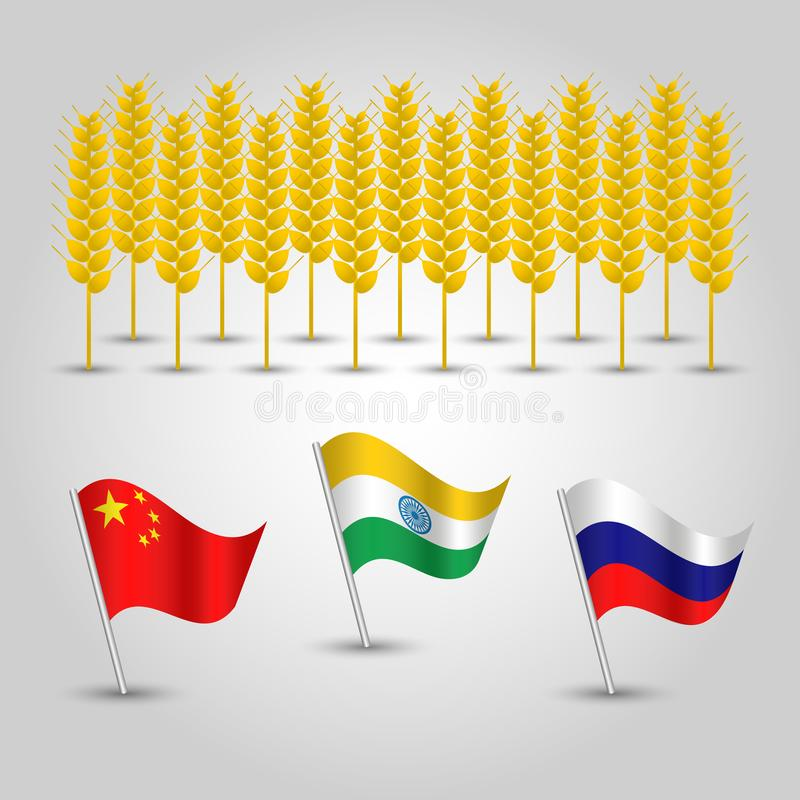 Vector set of three flags of states with biggest production of wheat and several grain cobs - countries china, ind vector illustration