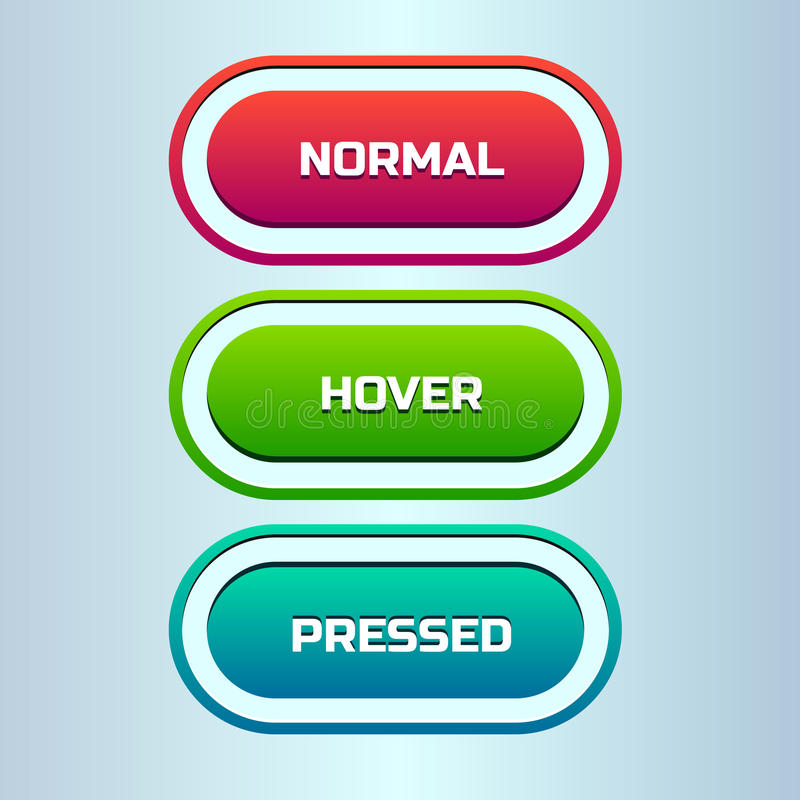 Vector set of three states of web button