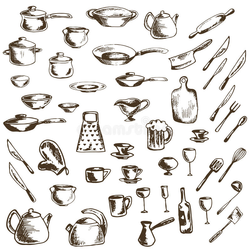 Vector set of thumbnail icons of dishes and kitchen utensils stock photography