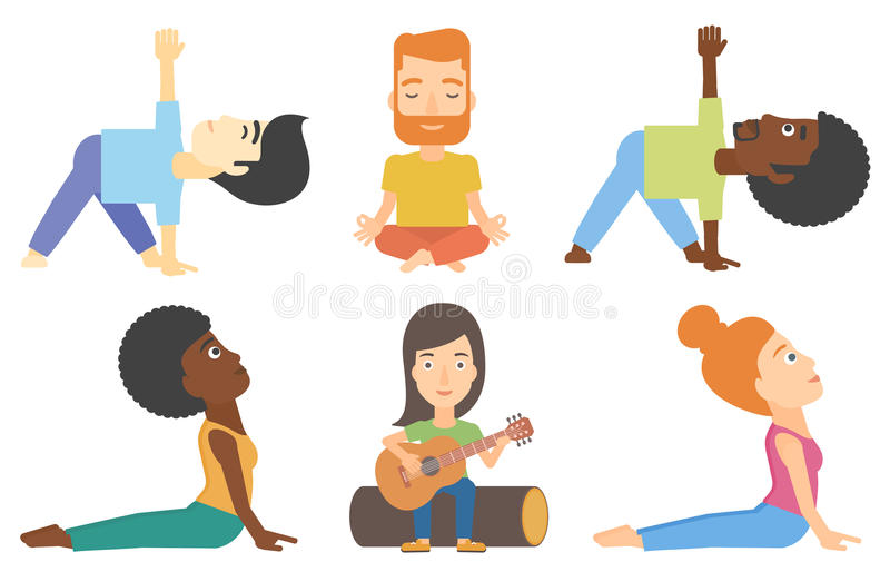 Vector set of tourists and people practicing yoga. stock illustration