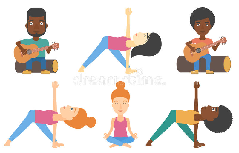 Vector set of tourists and people practicing yoga. royalty free illustration