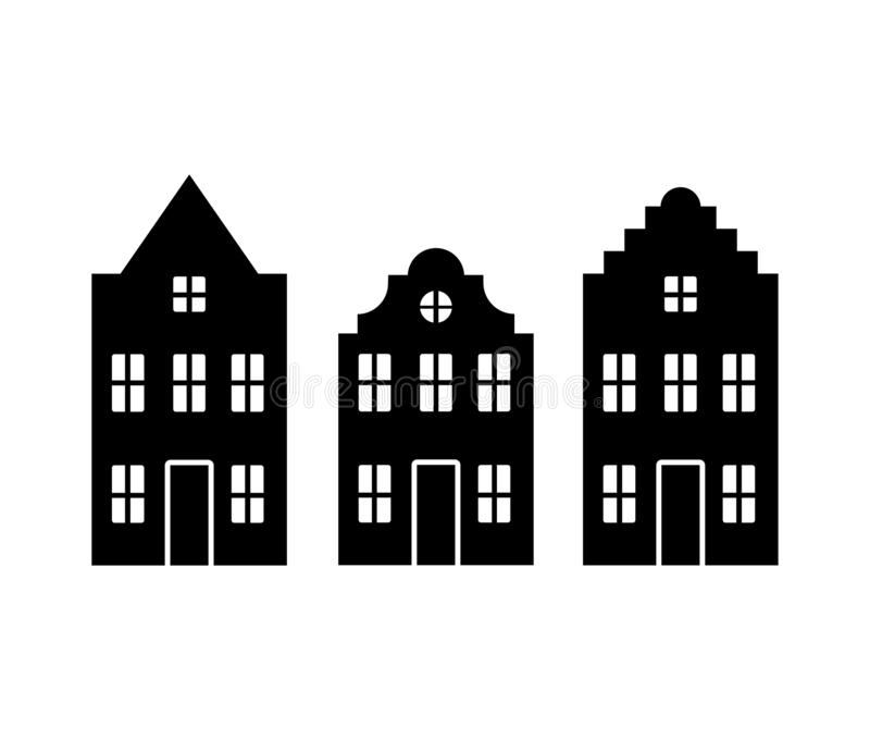 Vector set of traditional old Europe buildings like Amsterdam houses. Isolated black simplified silhouette royalty free illustration