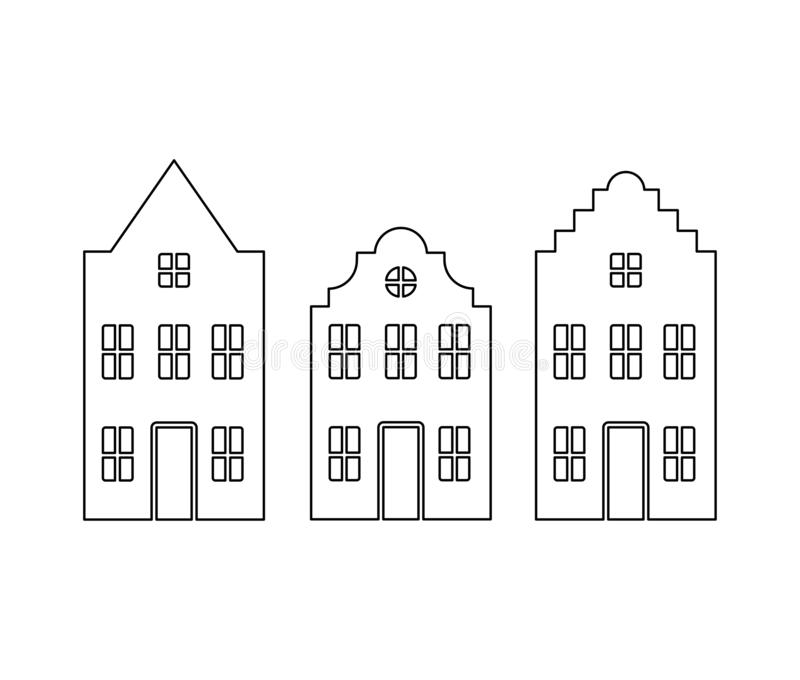 Vector set of traditional old Europe buildings like Amsterdam houses. Isolated black line simplified silhouette stock illustration