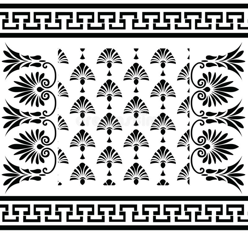 Vector set Traditional vintage Greek ornament Meander and floral pattern vector illustration