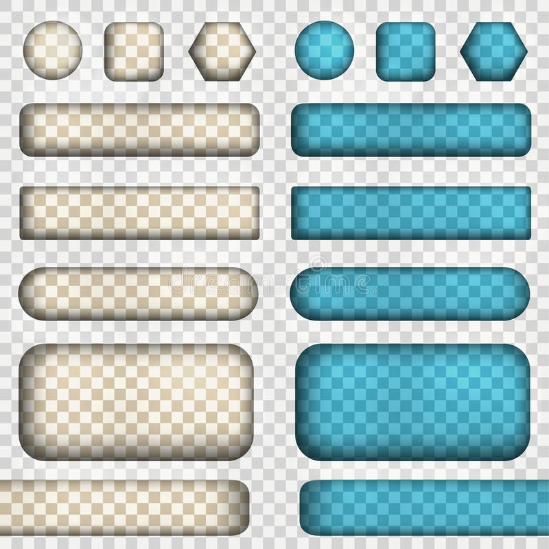 Vector set of transparency buttons. Vector illustration contains gradients and effects. Web icons for your design and business.Blue and light colors vector illustration