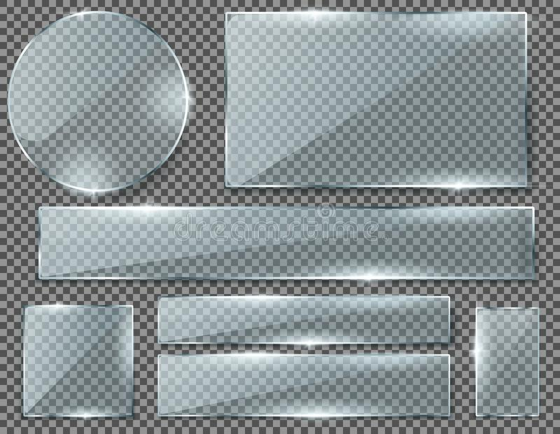Vector set of transparent glass plates or banners royalty free illustration