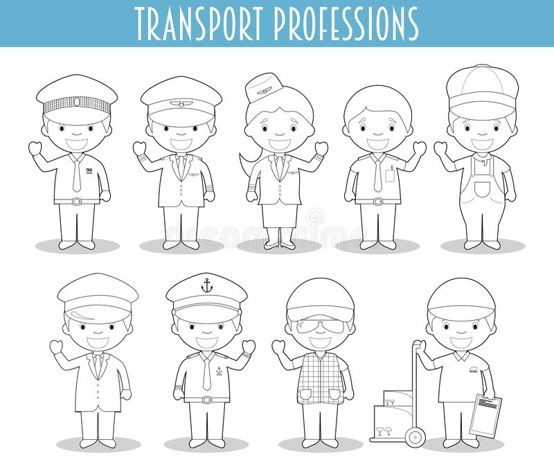 Vector Set of Transport Professions for coloring in cartoon style royalty free illustration