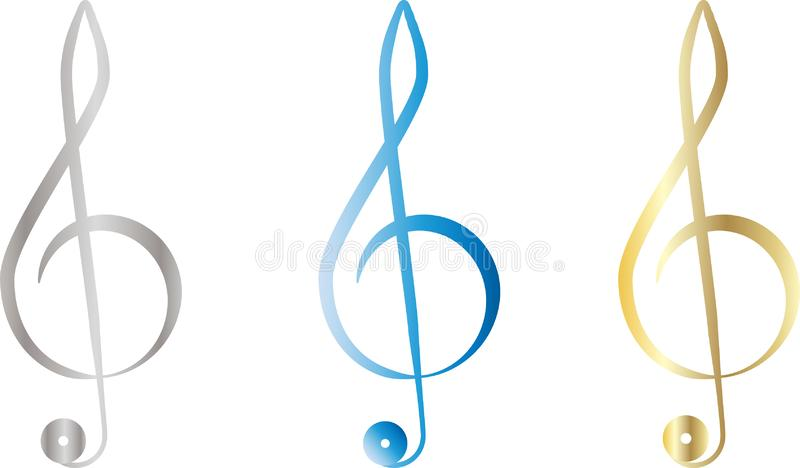 Vector set of treble clef stock illustration