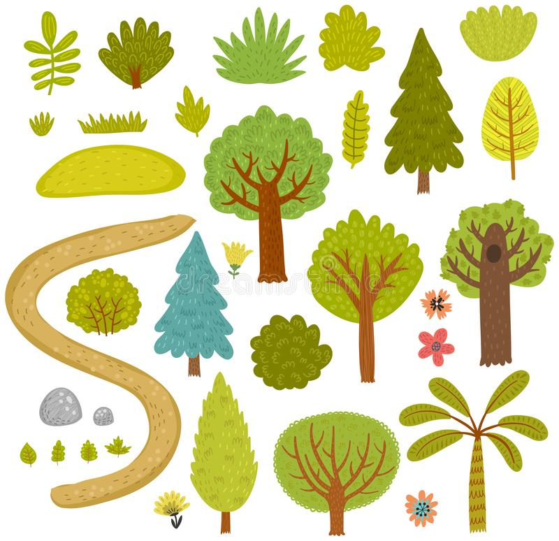 Forest collection vector set of trees. stock illustration