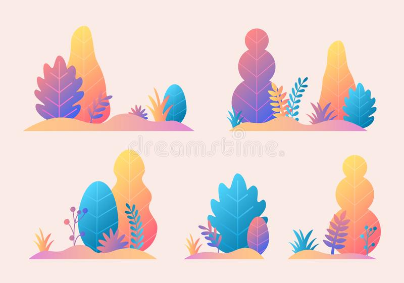 Vector set with trees, leaves, grass in trendy flat style design. Fantasy autumn nature plants template for banner, card, poster, royalty free illustration
