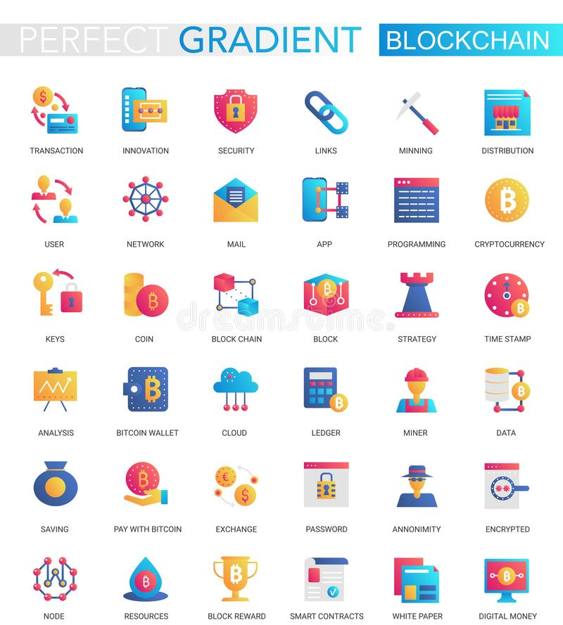 Vector set of trendy flat gradient Blockchain Cryptocurrency icons. royalty free illustration