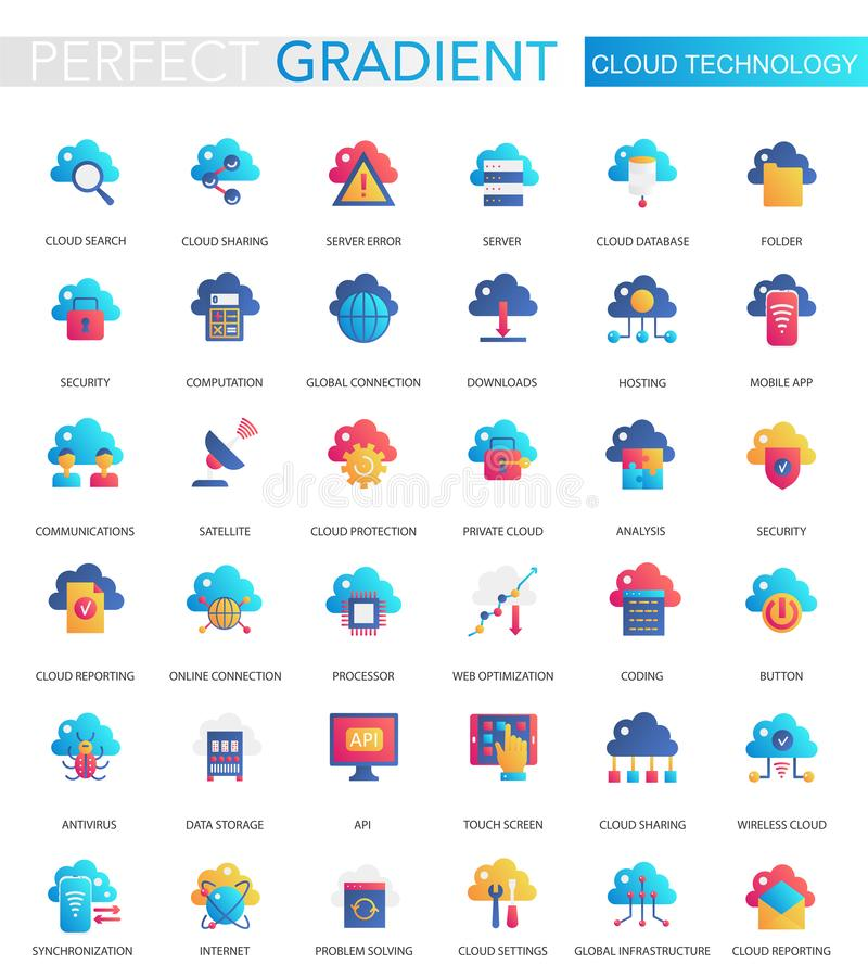 Vector set of trendy flat gradient of cloud, big data technology icons. Vector set of trendy flat gradient of cloud, big data technology icons royalty free illustration