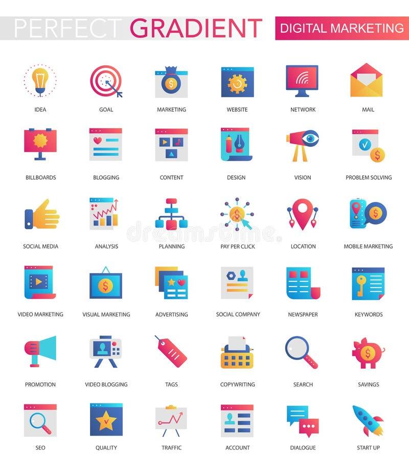 Vector set of trendy flat gradient Digital internet social media marketing icons. stock illustration