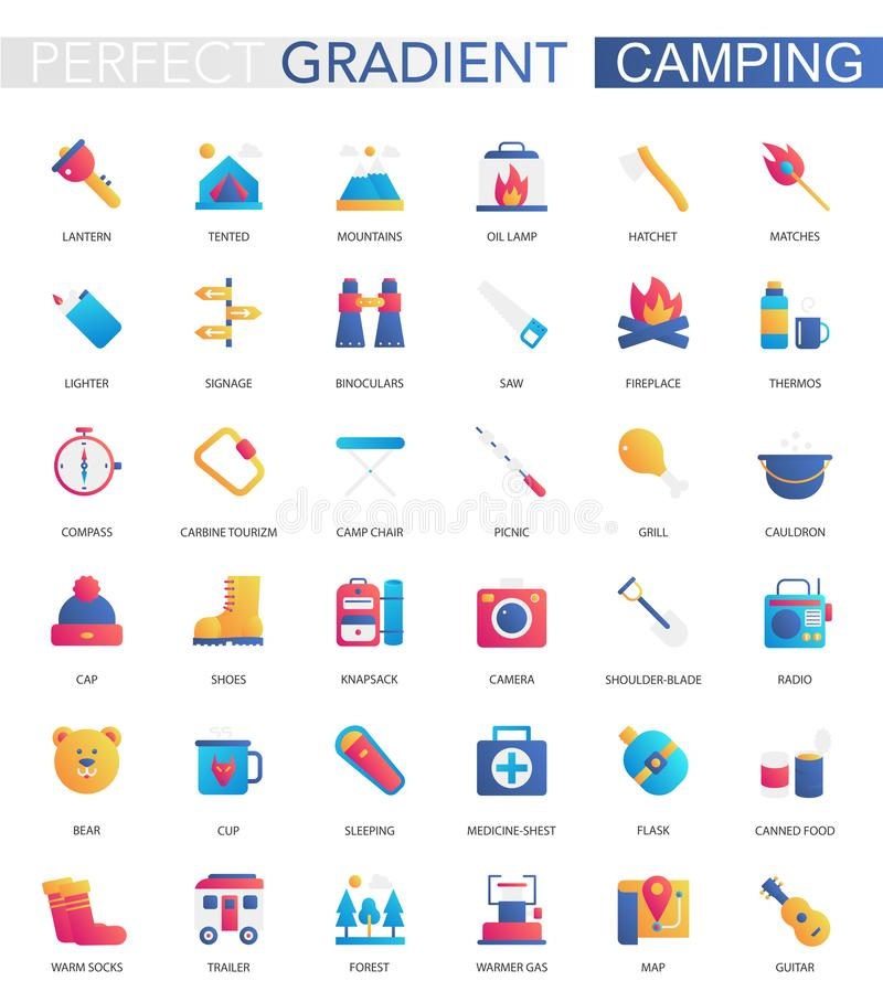 Vector set of trendy flat gradient summer camping icons. Vector set of trendy flat gradient summer camping icons stock illustration