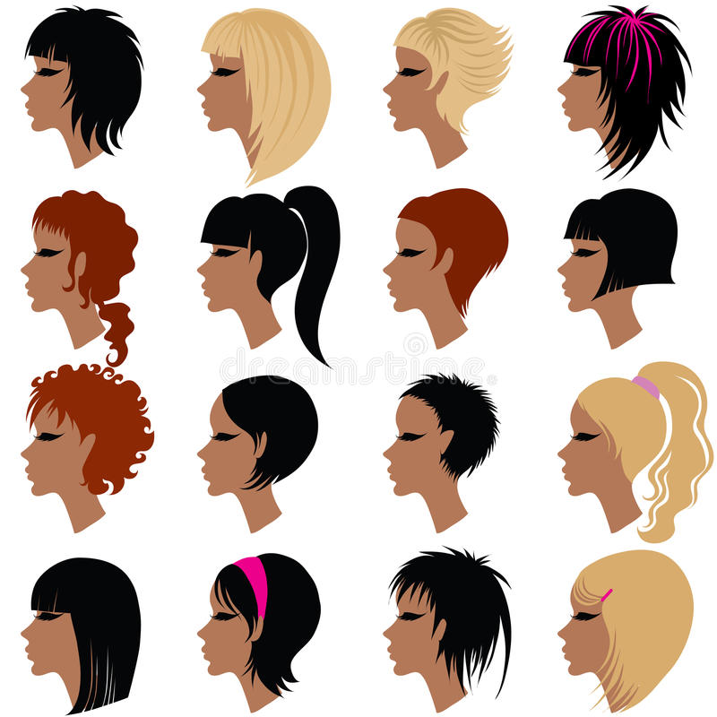 Vector Set Of Trendy Hair Styling For Woman Royalty Free Stock Images