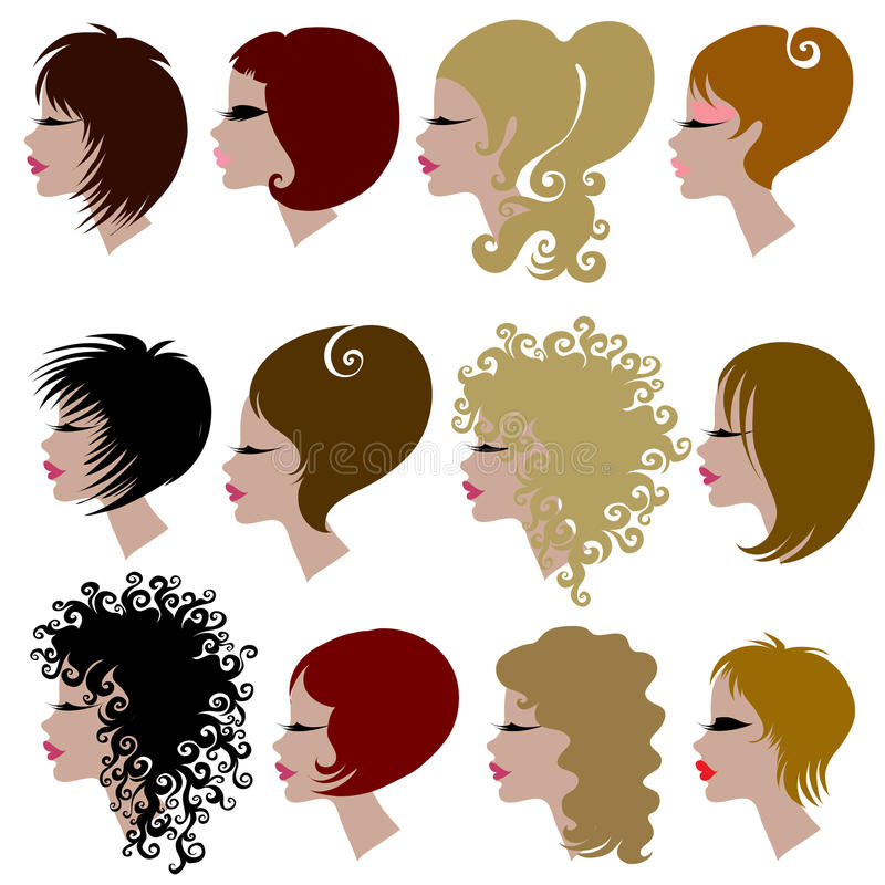 Download Vector Set Of Trendy Hair Styling For Woman Stock Vector - Image: 13834999
