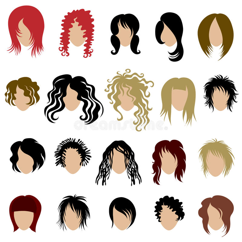 Download Vector Set Of Trendy Hair Styling For Woman Stock Vector - Illustration of hair, icon: 13835061