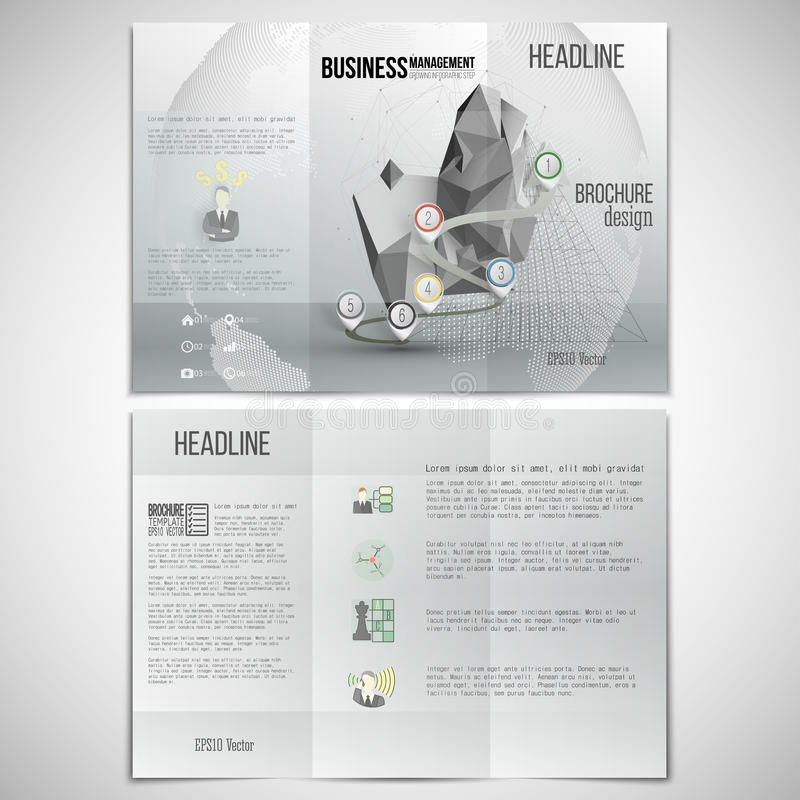 Vector set of tri-fold brochure design template on royalty free illustration