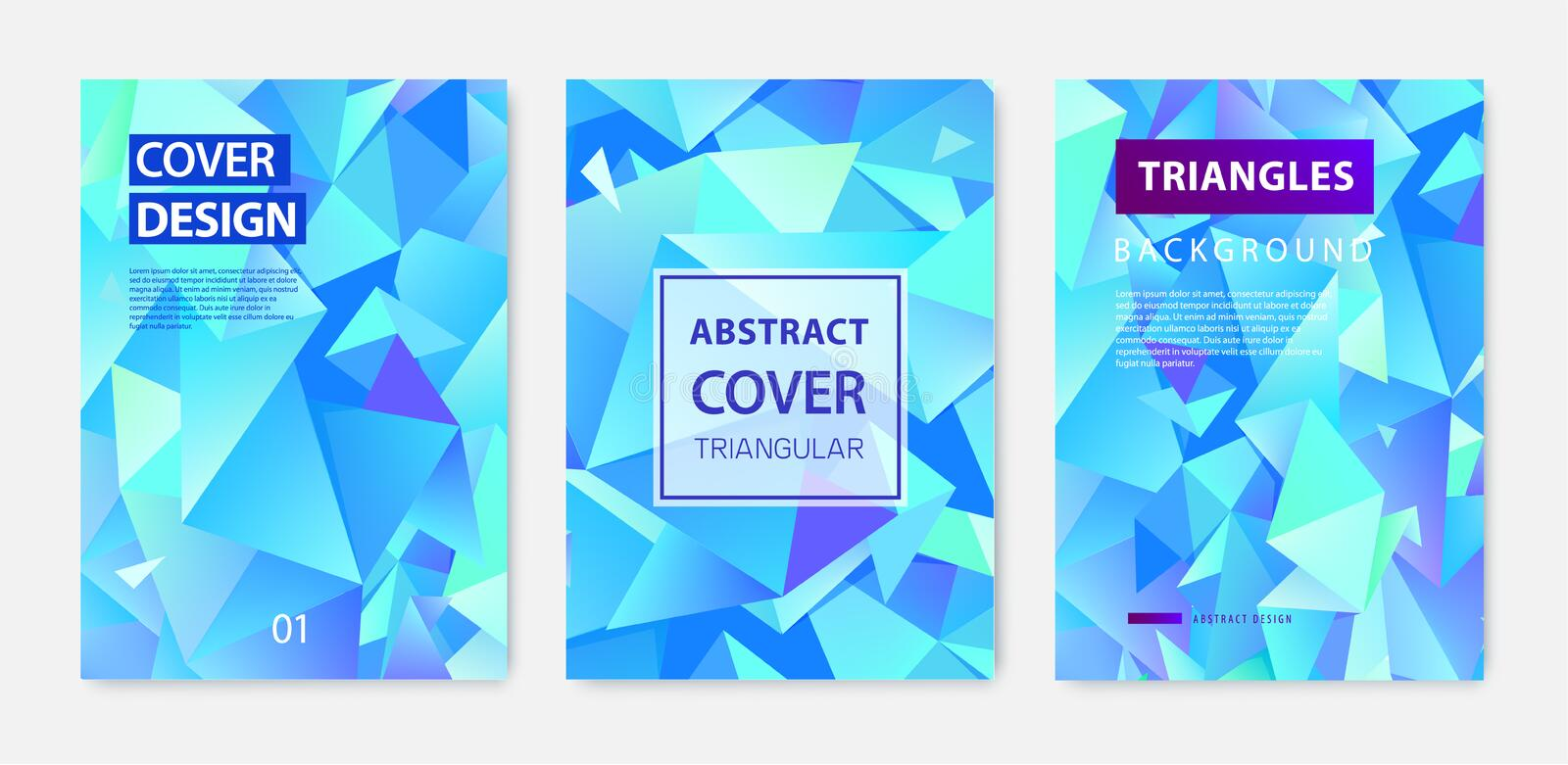 Vector set of triangle polygonal abstract background, facet crystal blue covers, flyers, brochures. Colorful gradient royalty free stock photos