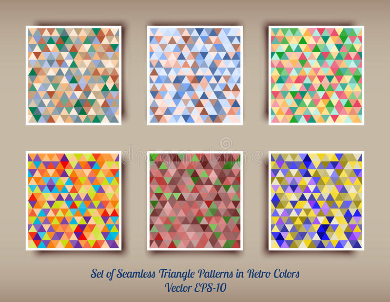 Vector set of 6 triangle seamless patterns vector illustration