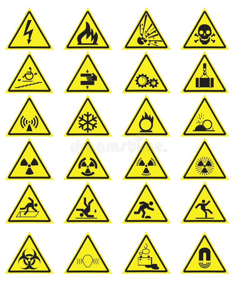 Vector Set of Triangle Yellow Warning Icons. Vector Set of Triangle Yellow Warning Signs royalty free illustration