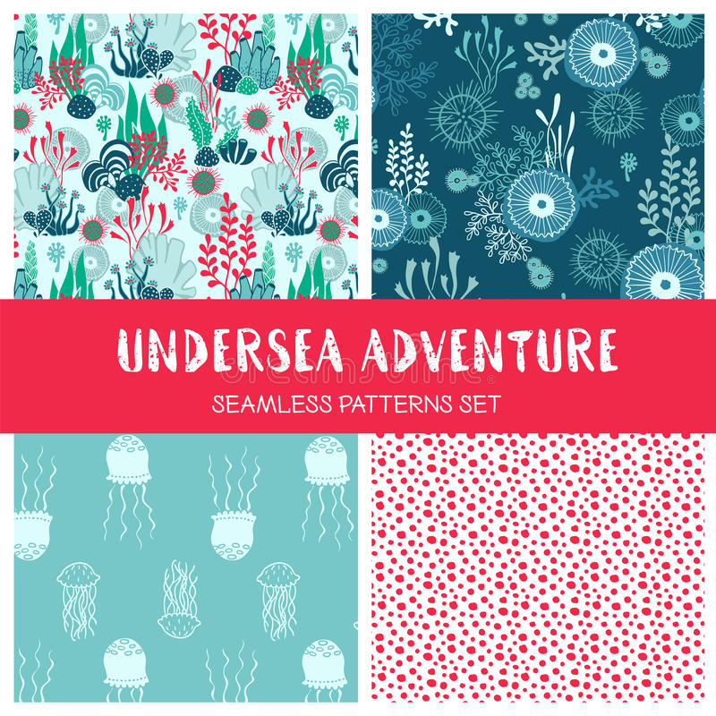 Vector set of underwater seamless patterns with seaweeds vector illustration
