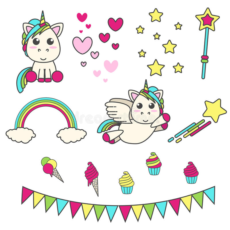 Vector set of unicorn, hearts, stars, magic wand, delicious and flags for decoration room for birthday party. royalty free illustration